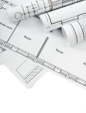 architecture plans: Construction house. Repair work. Drawings for building on white a background. Stock Photo
