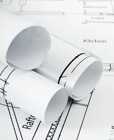 reconstruct: Planning of construction of the house. Drawings for building house. Working drawings. Stock Photo