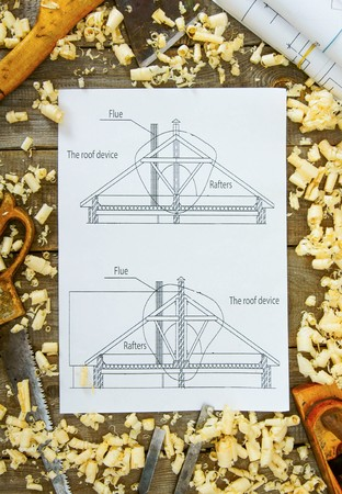Woodworking. Joiners works. Drawings for building and working tools on wooden background. photo