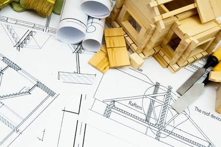 Construction house. Repair work. Joiner's works. Drawings for building, working tools and small wooden house.