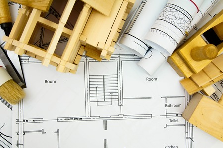 Planning of construction of the house. Repair work. Joiners works. Drawings for building, working tools and wooden house.