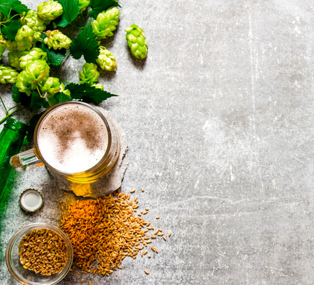 Beer, green hops and malt on a stone surface. Top view Stock Photo - 50361674