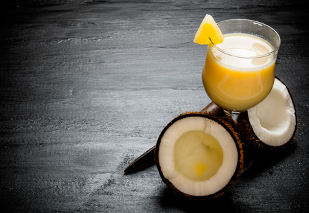 colada: Cocktail Pina colada. Making cocktails on the chalkboard . Free space for text. Stock Photo