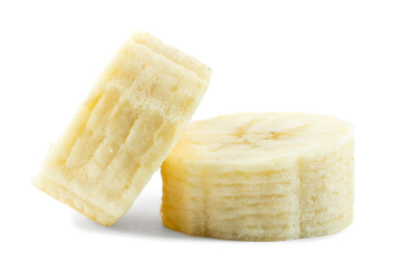 sweet segments: The slices of banana. Isolated on a white background. Stock Photo