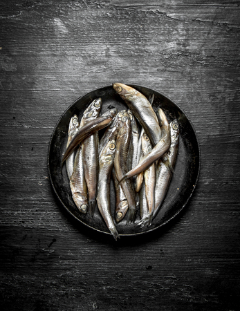 sprat: Sprat in the old pan. On the black wooden table.