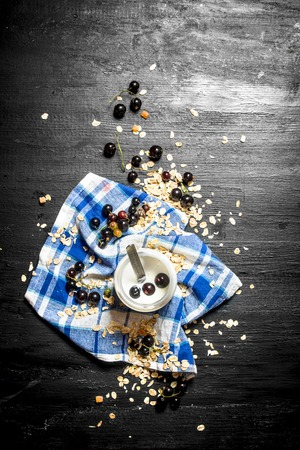 wild oats: Milk cream with oats and wild black currants. On a black wooden background.