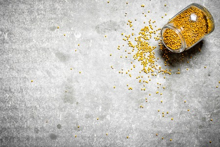 free background: Mustard seeds in glass jar. On the stone table. Stock Photo