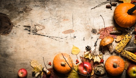 Autumn food. Autumn fruits and vegetables. On wooden background.