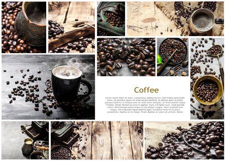 커피의 음식 콜라주입니다.