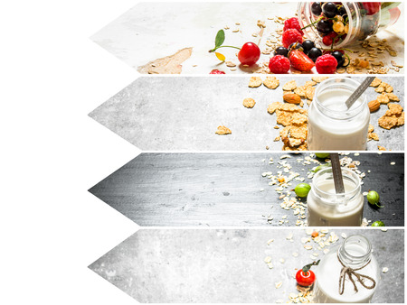 Food collage of muesli with berries.