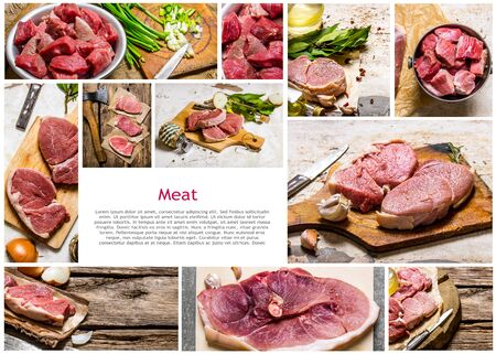 raw: Food collage of raw meat . Stock Photo