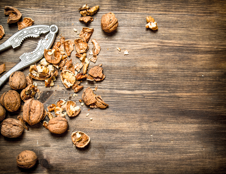 Shelled walnuts. On a wooden table. Free text space Stock Photo