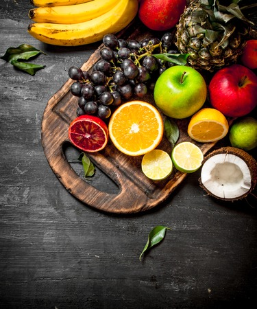 Of ripe fruit . On a black chalkboard. Stock Photo - 83687600