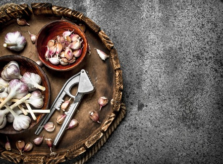 Fresh garlic in bowls with a press tool on a wooden tray. On a rustic background. Imagens