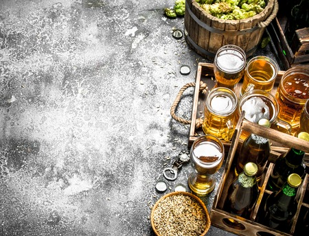 Beer background. Fresh beer with ingredients. On a rustic background. Reklamní fotografie