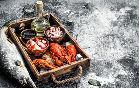 Different seafood on a wooden tray. On a rustic background. Stock Photo