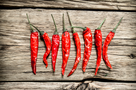 Hot chili peppers . On wooden background 스톡 콘텐츠