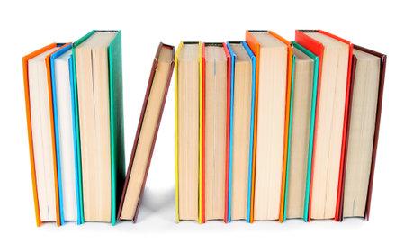 Multi-coloured books. On a white background. Stock Photo
