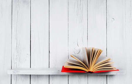The open book on a wooden shelf. A wooden, white background.