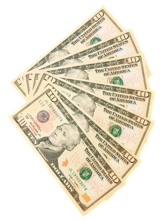 Dollars a fan. On white.