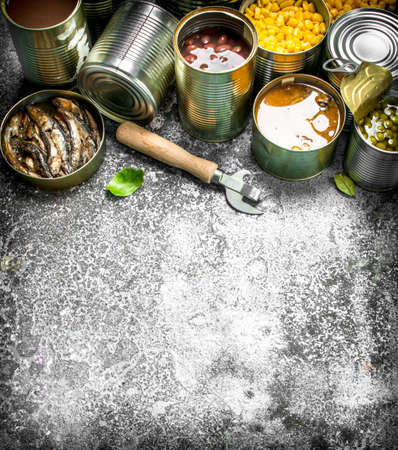 Various canned foods with meat, fish, vegetables and fruits in tin cans. On a rustic background.