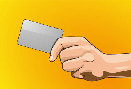 left handed: Vector illustration - Beautiful hands Credit Cards in outline version  Created with illustrator  Handle Credit Cards, background, are Created separately Illustration