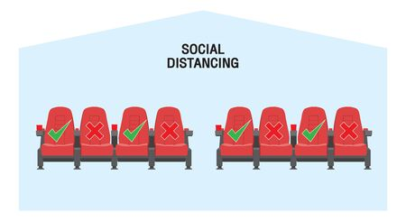 Keep a safe distance when sitting in a movie theater. Simple vector icon over white background. Illustration