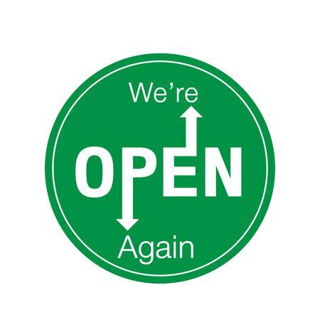 We're open again after quarantine, vector illustration Simple vector icon over white background. Illustration Векторная Иллюстрация