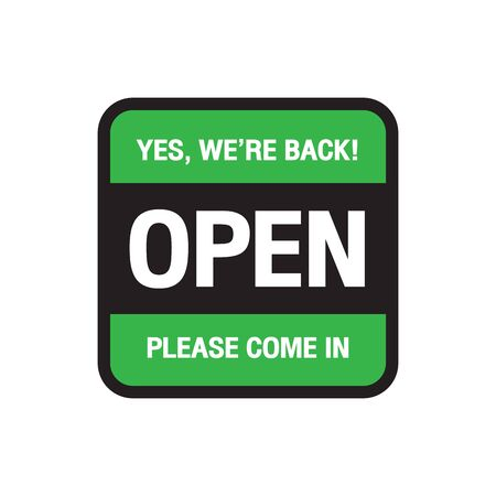 We're open again after quarantine, vector illustration Simple vector icon over white background. Illustration