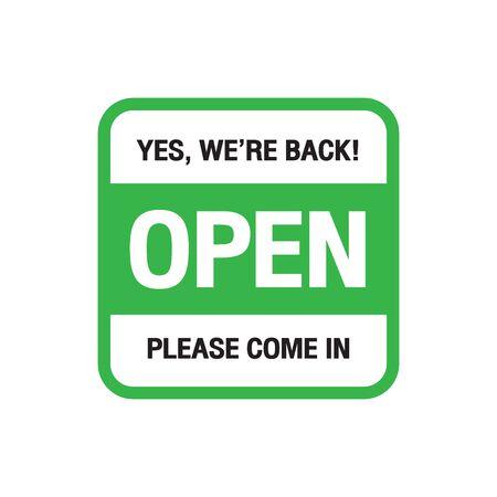 We're open again after quarantine, vector illustration Simple vector icon over white background. Illustration Vektorgrafik