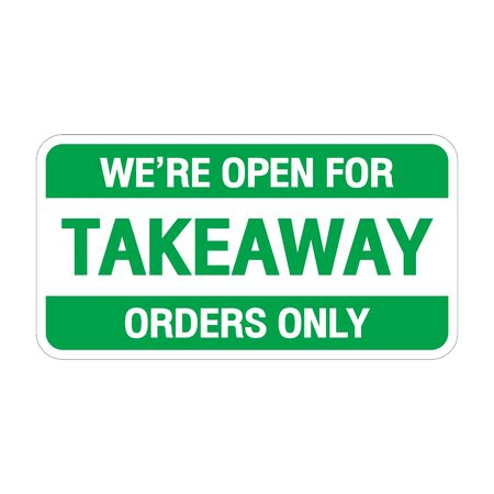 sign we're open for takeaway orders only in front of counterbar.social distancing concept when coronavirus is outbreak in city