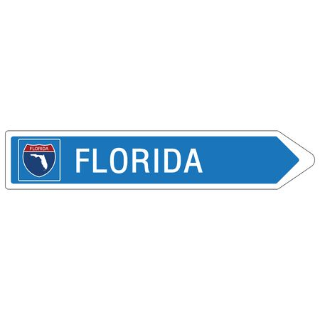 Roadway sign Welcome to Signage on the highway in american style Providing Florida state information and maps On the green background of the sign vector art image illustration Illustration