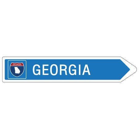 Roadway sign Welcome to Signage on the highway in american style Providing Georgia state information and maps On the green background of the sign vector art image illustration Illustration