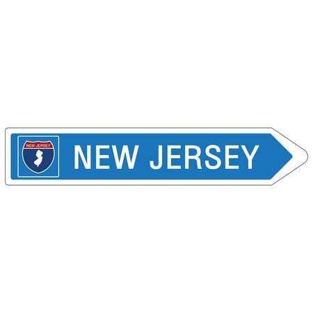 Roadway sign Welcome to Signage on the highway in american style Providing New Jersey state information and maps On the green background of the sign vector art image illustration