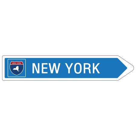 Roadway sign Welcome to Signage on the highway in american style Providing New York state information and maps On the green background of the sign vector art image illustration Vettoriali