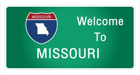Roadway sign Welcome to Signage on the highway in american style Providing missouri state information and maps On the green background of the sign vector art image illustration