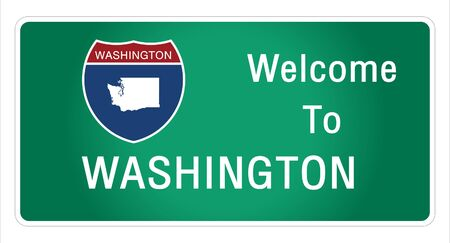 Roadway sign Welcome to Signage on the highway in american style Providing washington state information and maps On the green background of the sign vector art image illustration
