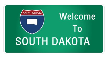 Roadway sign Welcome to Signage on the highway in american style Providing south dakota state information and maps On the green background of the sign vector art image illustration