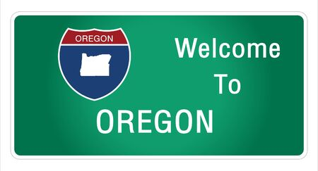 Roadway sign Welcome to Signage on the highway in american style Providing oregon state information and maps On the green background of the sign vector art image illustration