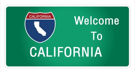 Roadway sign Welcome to Signage on the highway in american style Providing california state information and maps On the green background of the sign vector art image illustration