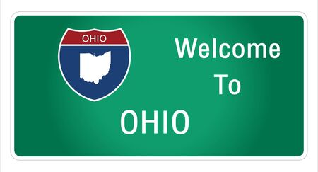 Roadway sign Welcome to Signage on the highway in american style Providing ohio state information and maps On the green background of the sign vector art image illustration