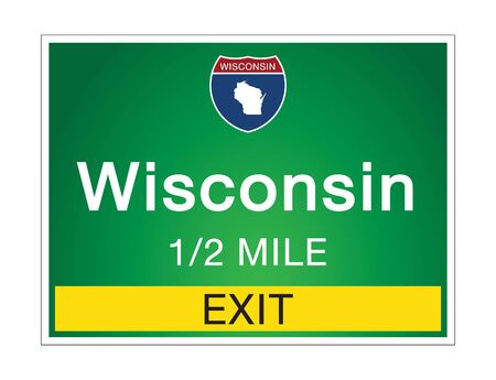 Highway signs before the exit To the state Wisconsin Of United States on a green background vector art images Illustration