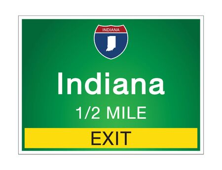 Roadway sign Welcome to Signage on the highway in american style Providing Indiana state information and maps On the green background of the sign vector art image illustration