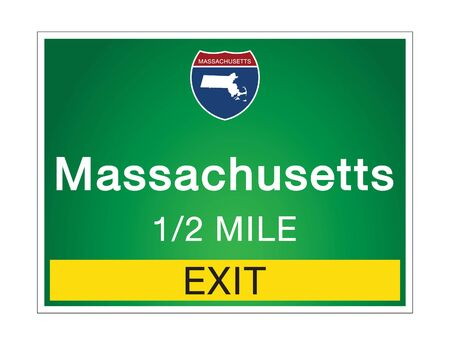 Roadway sign Welcome to Signage on the highway in american style Providing Massachusetts state information and maps On the green background of the sign vector art image illustration