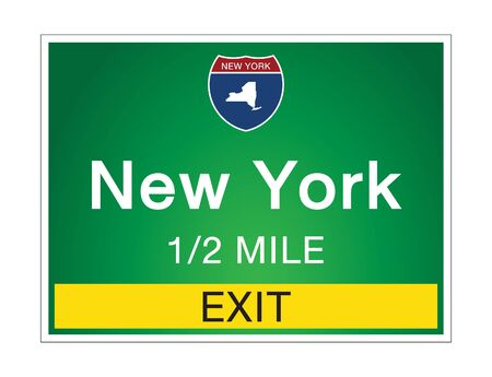 Highway signs before the exit To the state New York Of United States on a green background vector art images Illustration