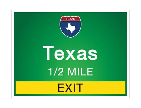 Highway signs before the exit To the state Texas Of United States on a green background vector art images Illustration Vetores