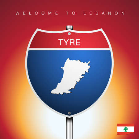 An Sign Road America Style with state of Lebanon with Red background and message, JEZZINE and map, vector art image illustration