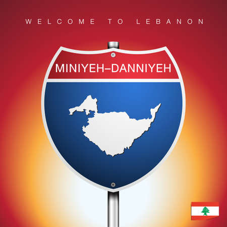 An Sign Road America Style with state of Lebanon with Red background and message, NABATIEH and map, vector art image illustration Vetores