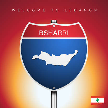 An Sign Road America Style with state of Lebanon with Red background and message, NABATIEH and map, vector art image illustration