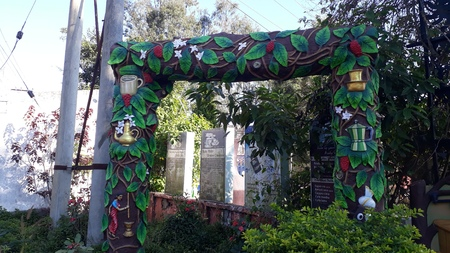 colorful arch in the coffee museum, Araku Vally